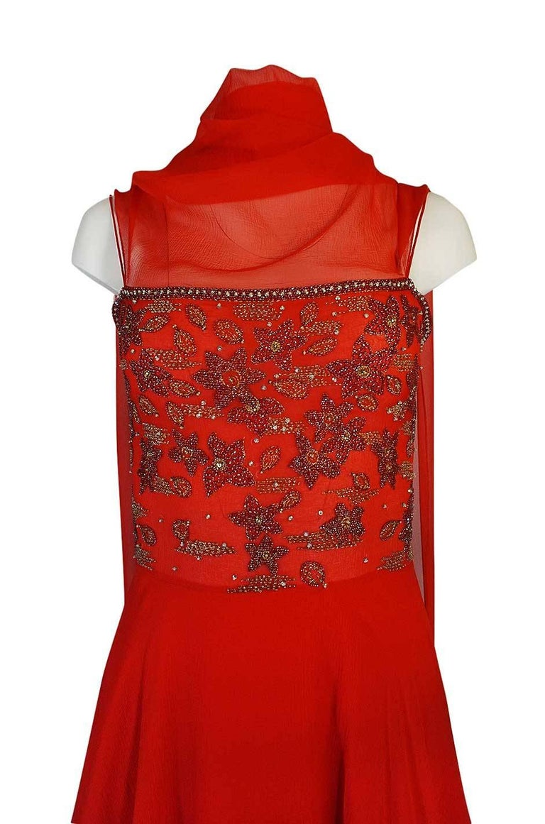 c1978 Nina Ricci Haute Couture Lesage Beaded Red Silk Chiffon Dress For Sale 2