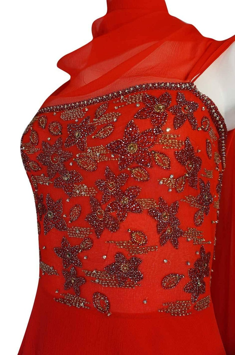 c1978 Nina Ricci Haute Couture Lesage Beaded Red Silk Chiffon Dress For Sale 3
