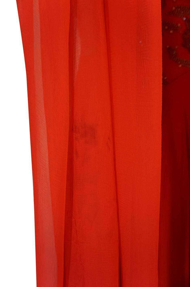 c1978 Nina Ricci Haute Couture Lesage Beaded Red Silk Chiffon Dress For Sale 4