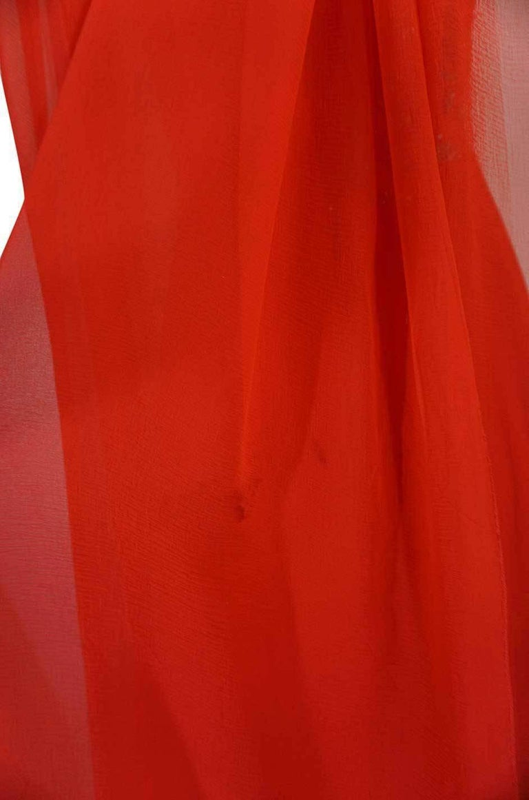 c1978 Nina Ricci Haute Couture Lesage Beaded Red Silk Chiffon Dress For Sale 5