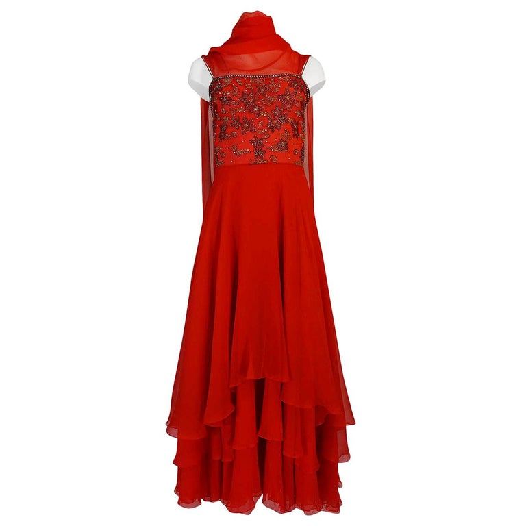 c1978 Nina Ricci Haute Couture Lesage Beaded Red Silk Chiffon Dress For Sale
