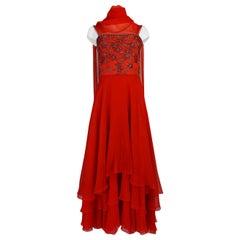 c1978 Nina Ricci Haute Couture Lesage Beaded Red Silk Chiffon Dress