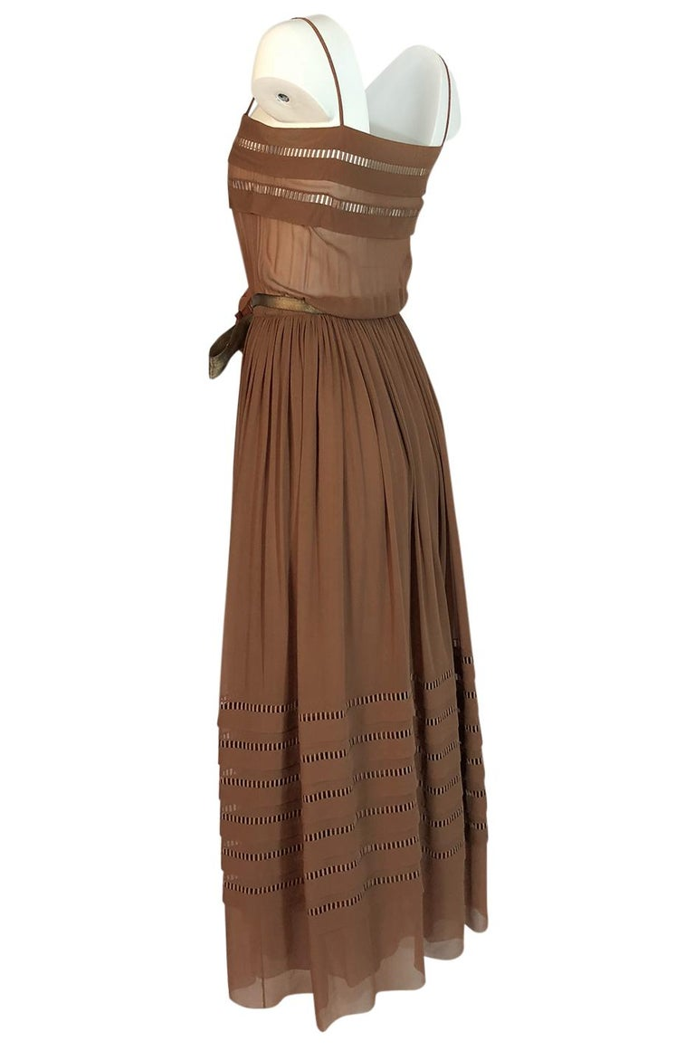 Women's c.1978 Unlabeled Christian Dior Haute Couture Silk Dress w Floral Belt For Sale