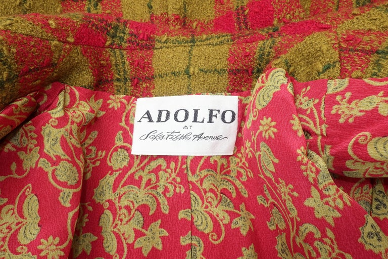 C.1980 Adolfo For Saks Fifth Avenue Plaid Boucle Skirt Suit For Sale 5