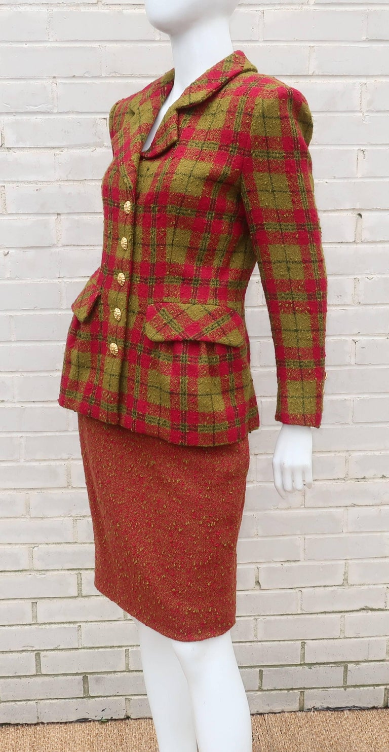 Women's C.1980 Adolfo For Saks Fifth Avenue Plaid Boucle Skirt Suit For Sale