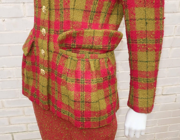 C.1980 Adolfo For Saks Fifth Avenue Plaid Boucle Skirt Suit For Sale 1