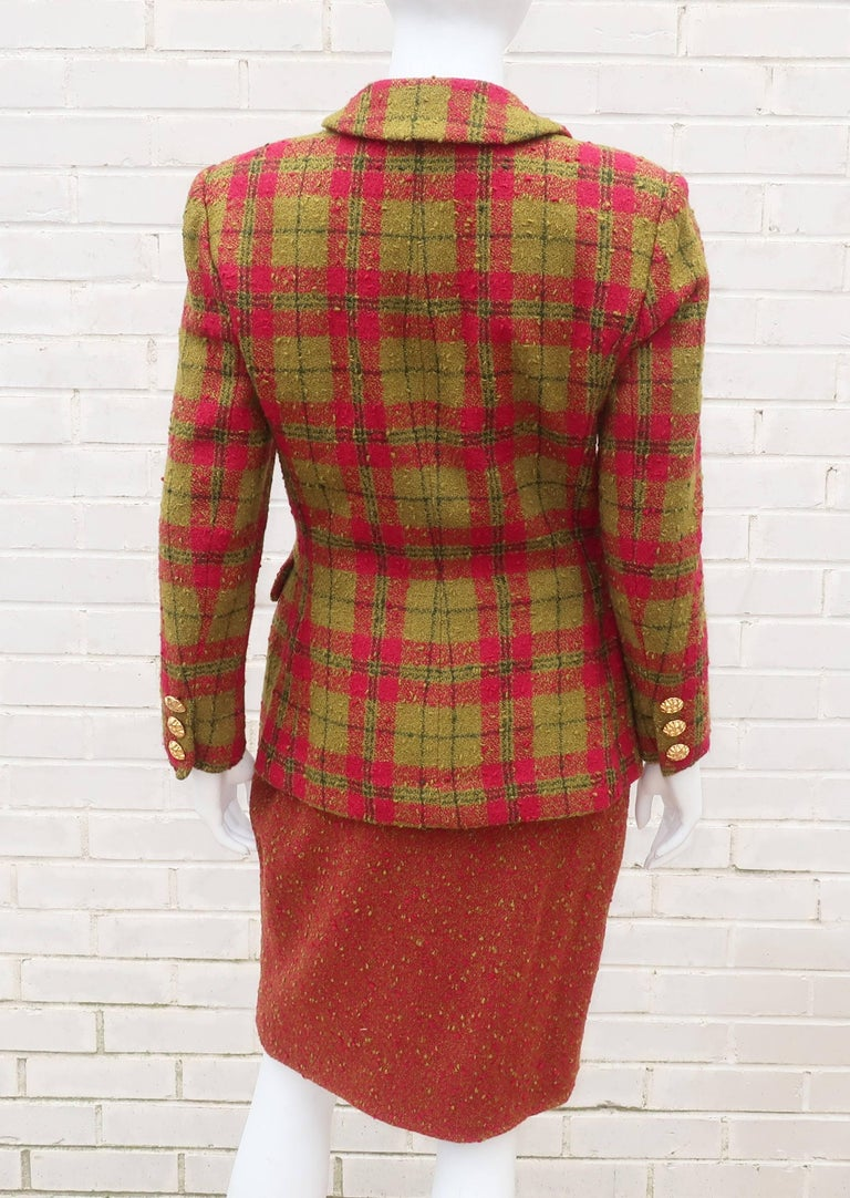 C.1980 Adolfo For Saks Fifth Avenue Plaid Boucle Skirt Suit For Sale 2