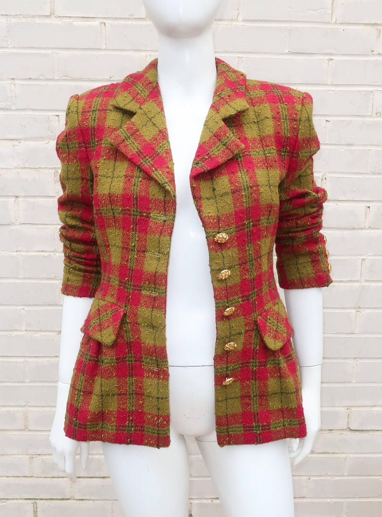 C.1980 Adolfo For Saks Fifth Avenue Plaid Boucle Skirt Suit For Sale 3