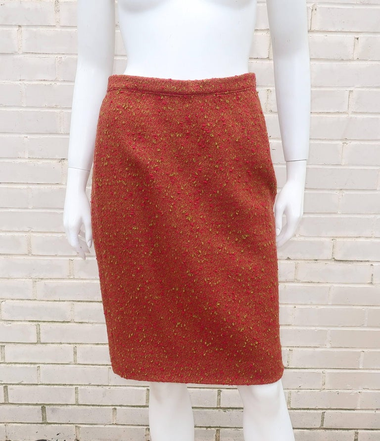 C.1980 Adolfo For Saks Fifth Avenue Plaid Boucle Skirt Suit For Sale 4
