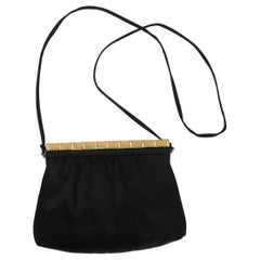 C.1980 Givenchy Black Satin Evening Handbag With Rhinestone Closure