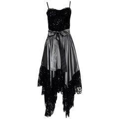 c.1981-82 Yves Saint Laurent Grey Silk Taffeta Dress w Lace Netting & Sequin Det