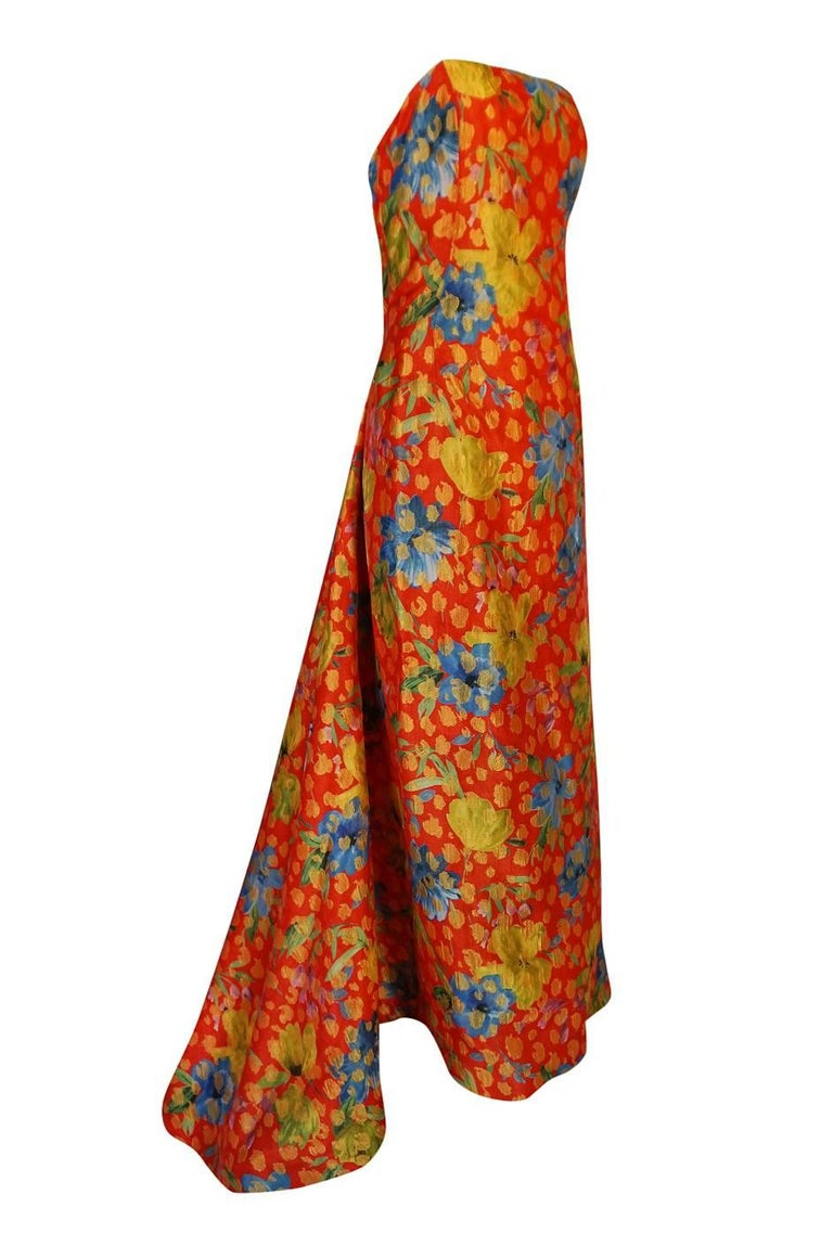Brown Sully Bonnelly Red and Gold Floral Strapless Trained Dress, circa 1998 For Sale