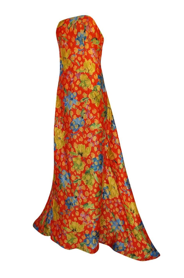 Sully Bonnelly Red and Gold Floral Strapless Trained Dress, circa 1998 In Excellent Condition For Sale In Toronto, CA