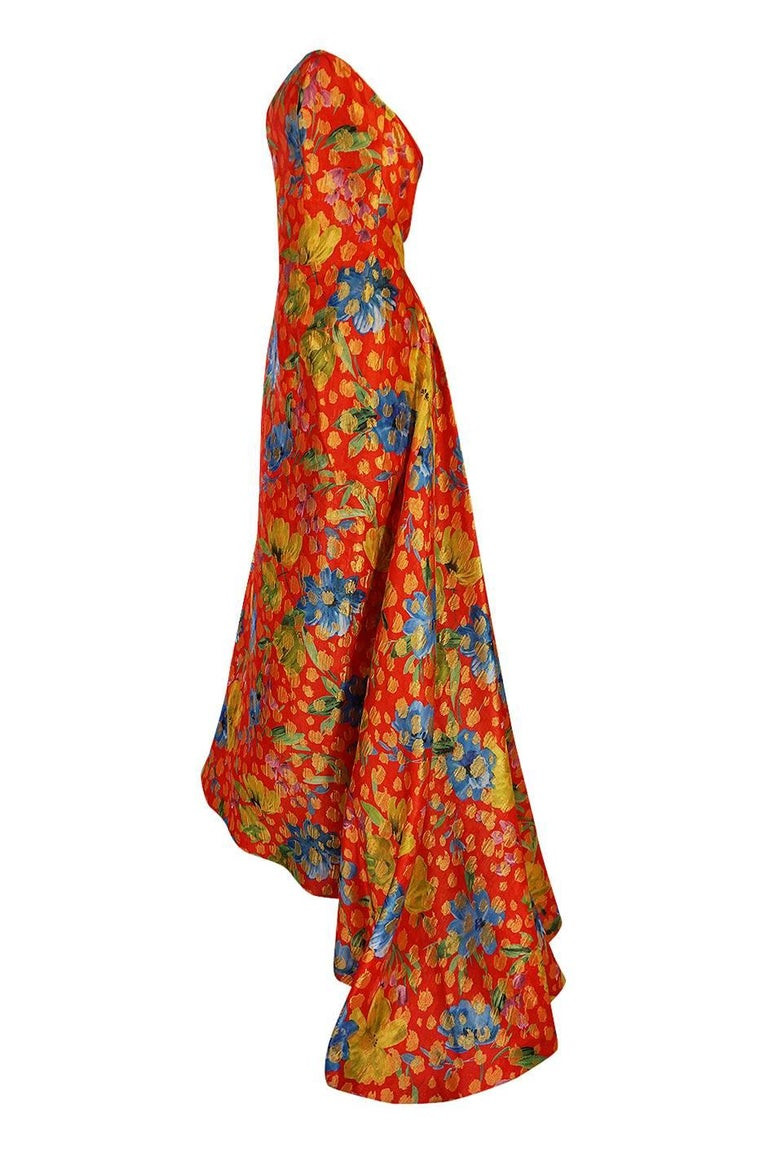 Women's Sully Bonnelly Red and Gold Floral Strapless Trained Dress, circa 1998 For Sale