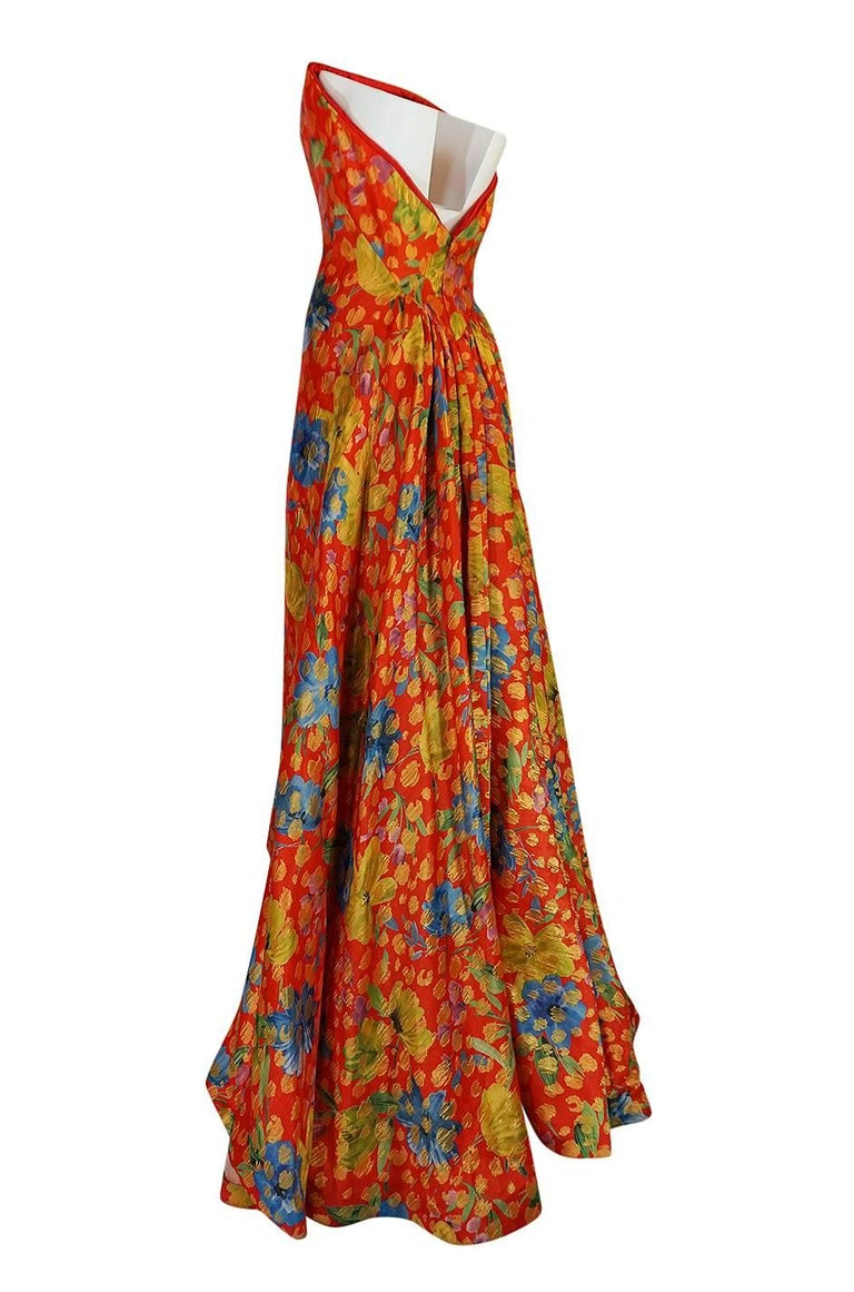 Sully Bonnelly Red and Gold Floral Strapless Trained Dress, circa 1998 For Sale 1