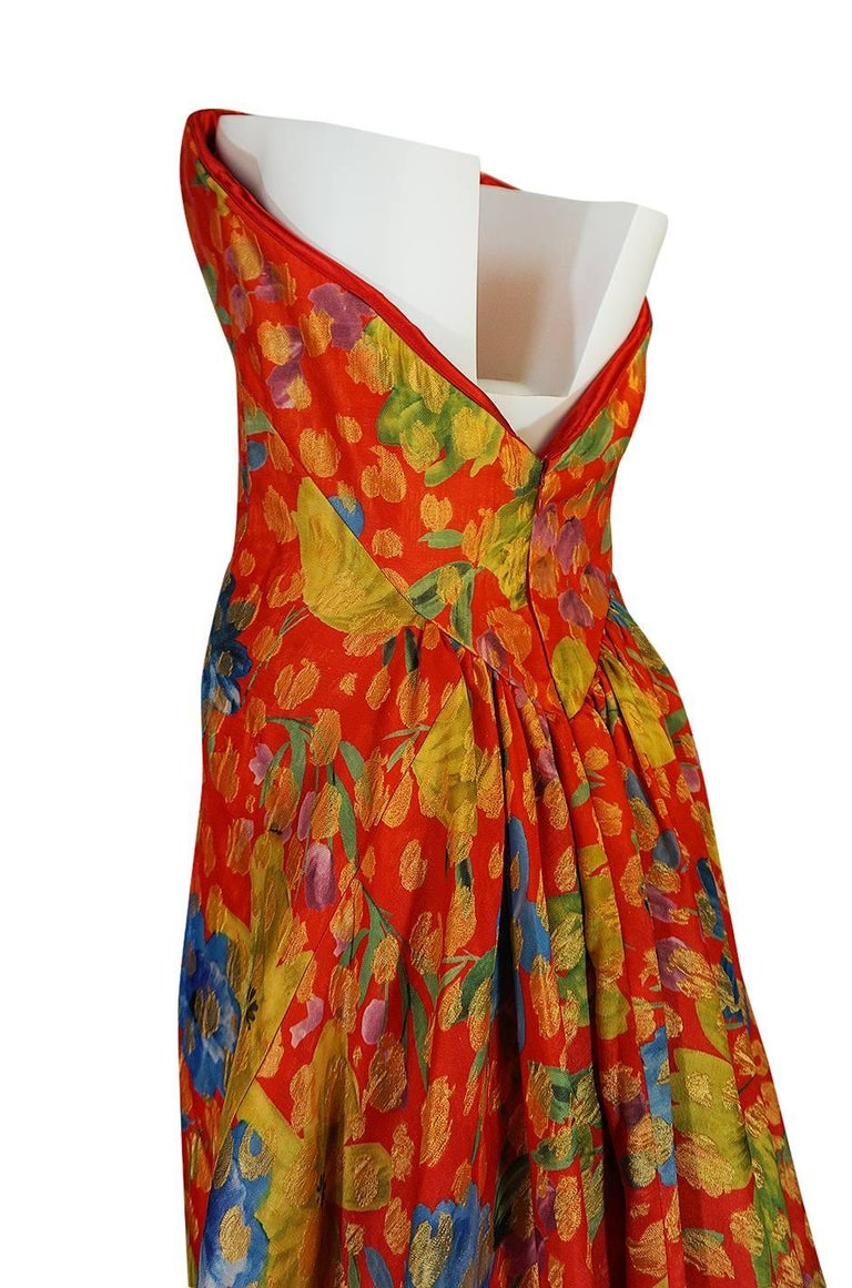 Sully Bonnelly Red and Gold Floral Strapless Trained Dress, circa 1998 For Sale 3