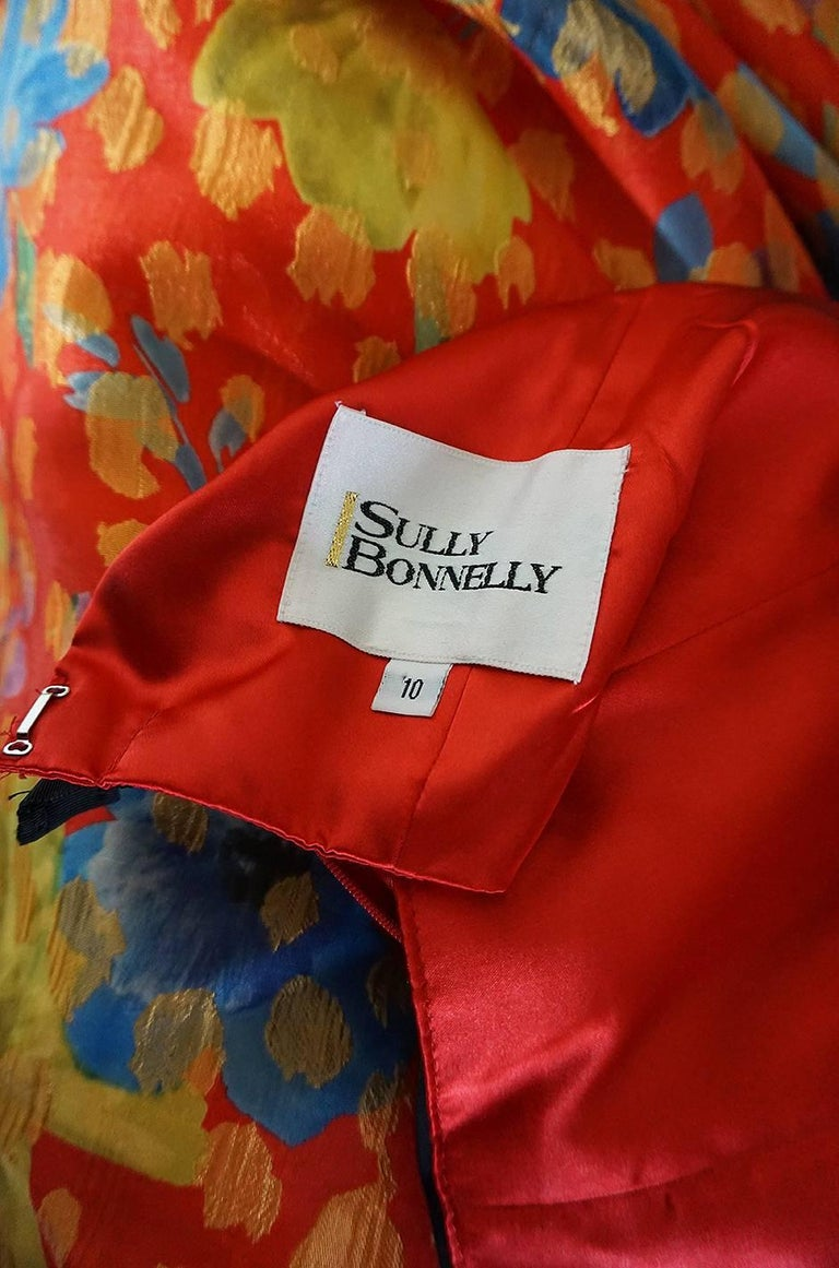 Sully Bonnelly Red and Gold Floral Strapless Trained Dress, circa 1998 For Sale 4