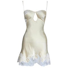 C.1999 Christian Dior John Galliano Silk Slip Cut-Out Lace Trim Mini Dress