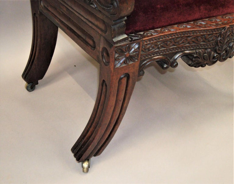 19th Century Anglo Indian Carved Padouk Side Chair For Sale 6