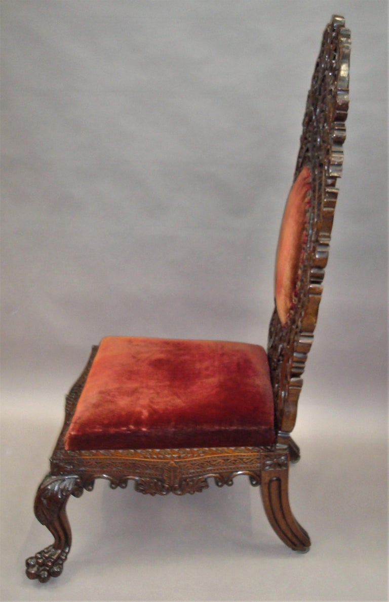 19th Century Anglo Indian Carved Padouk Side Chair For Sale 7