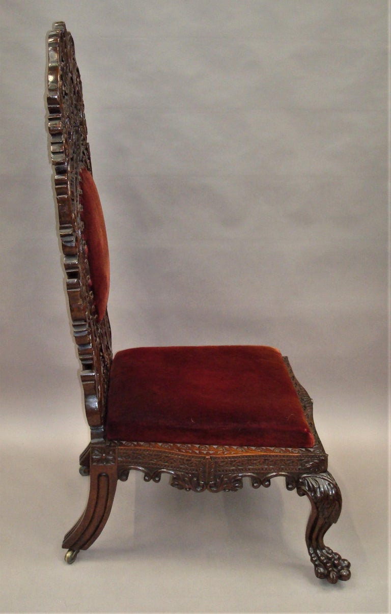 19th Century Anglo Indian Carved Padouk Side Chair For Sale 8