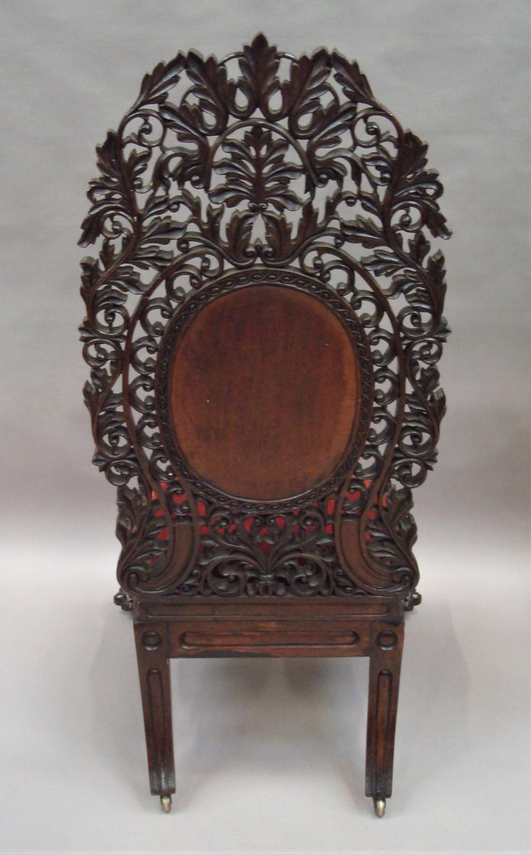 19th Century Anglo Indian Carved Padouk Side Chair For Sale 9