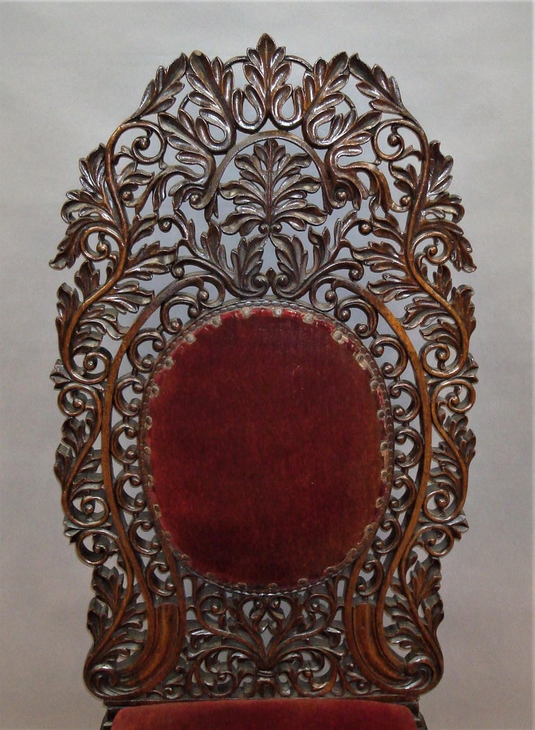Anglo-Indian 19th Century Anglo Indian Carved Padouk Side Chair For Sale