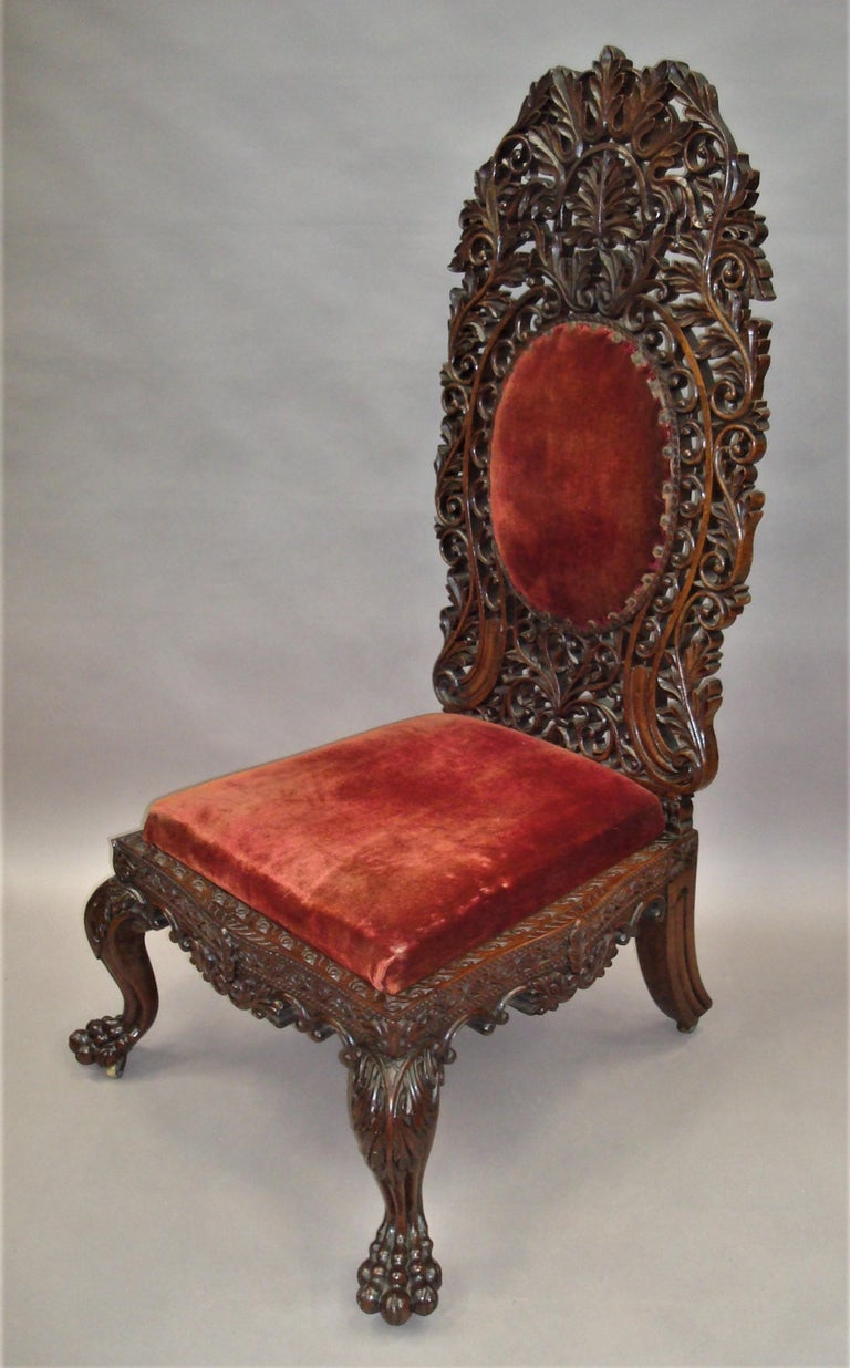 Hand-Carved 19th Century Anglo Indian Carved Padouk Side Chair For Sale