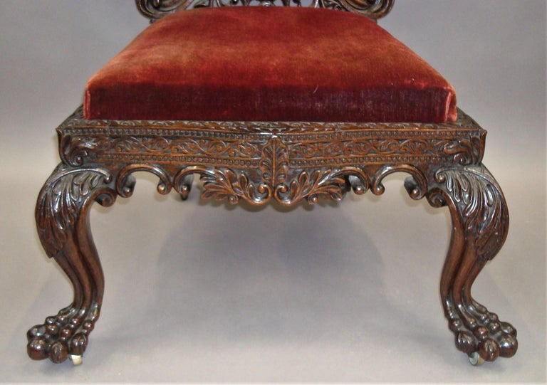 19th Century Anglo Indian Carved Padouk Side Chair In Good Condition For Sale In Moreton-in-Marsh, Gloucestershire