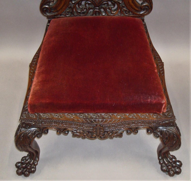 19th Century Anglo Indian Carved Padouk Side Chair For Sale 1
