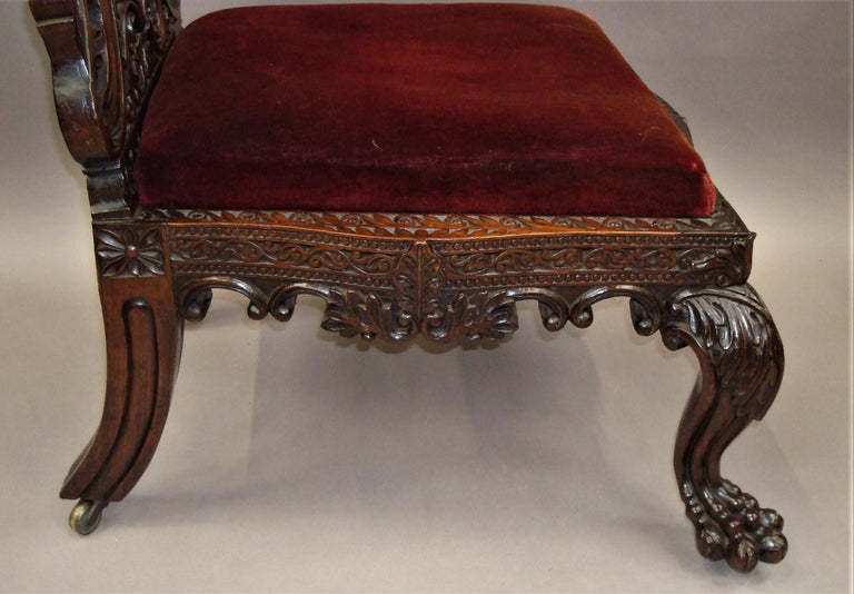 19th Century Anglo Indian Carved Padouk Side Chair For Sale 2