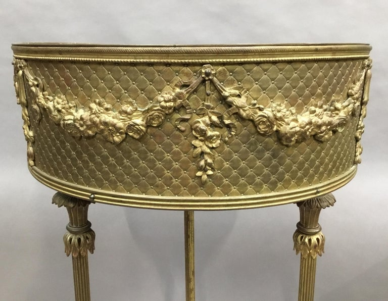 19th Century French Gilt Brass Jardinière For Sale 2