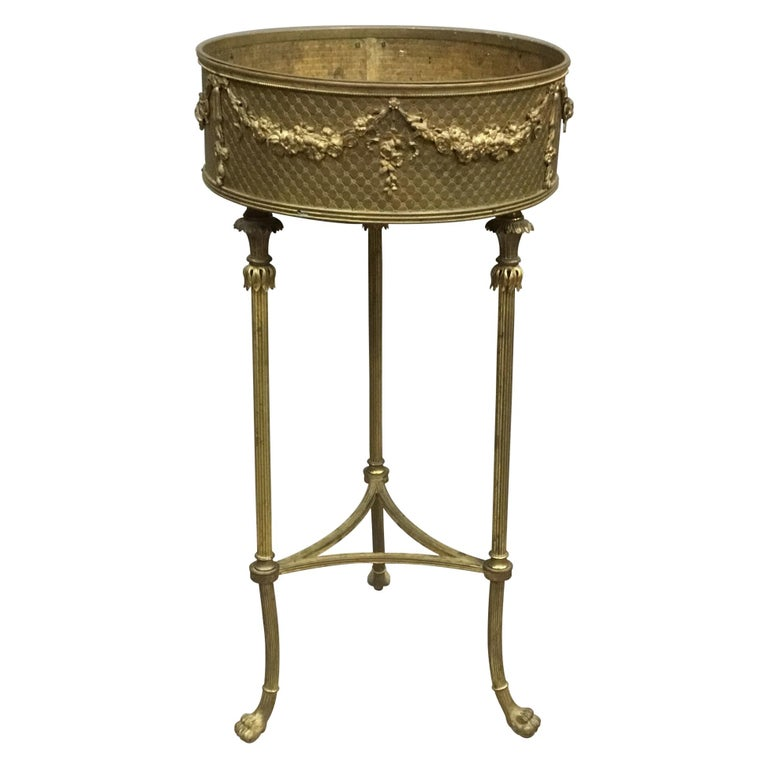 19th Century French Gilt Brass Jardinière For Sale