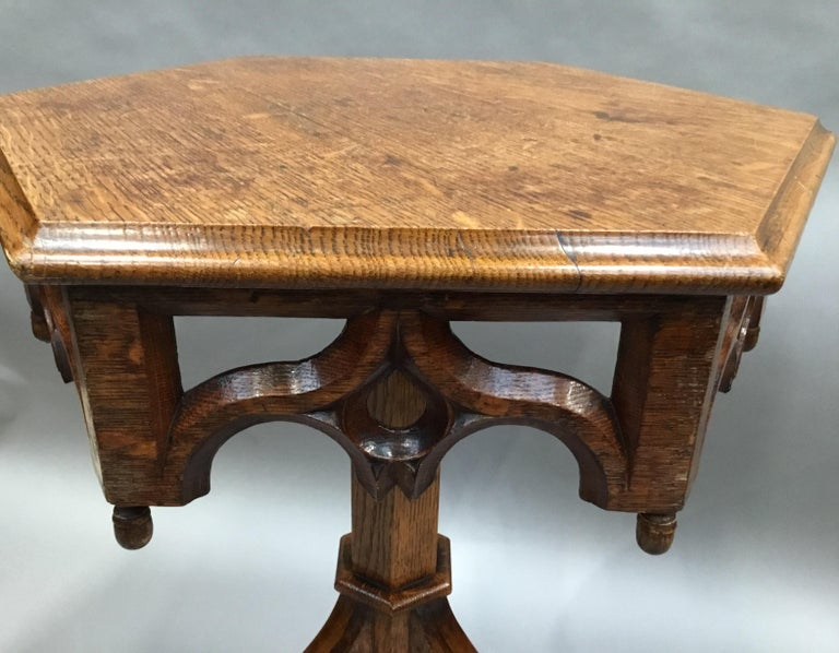 19th Century Gothic Oak Occasional Table For Sale 10