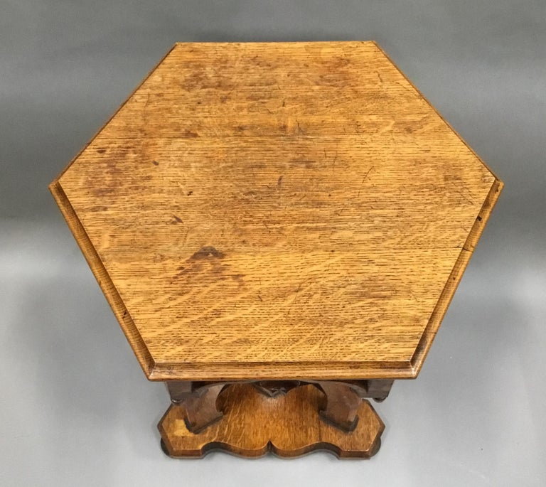 English 19th Century Gothic Oak Occasional Table For Sale
