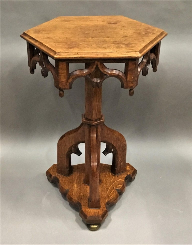 Hand-Carved 19th Century Gothic Oak Occasional Table For Sale