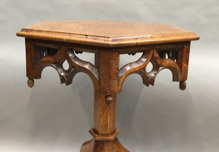19th Century Gothic Oak Occasional Table For Sale 4