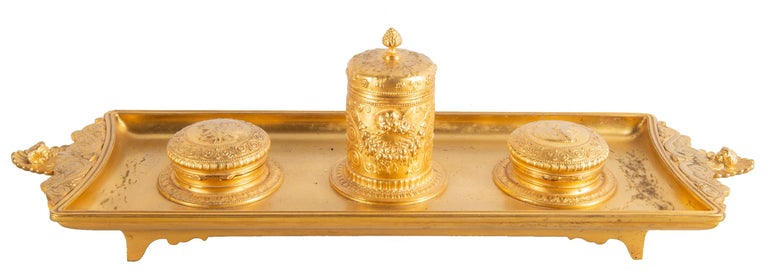 19th Century Grand Tour Influenced Gilded Ormolu Ink Well, Stamped, Barbedienne For Sale 5