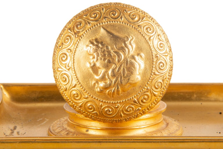 19th Century Grand Tour Influenced Gilded Ormolu Ink Well, Stamped, Barbedienne For Sale 6