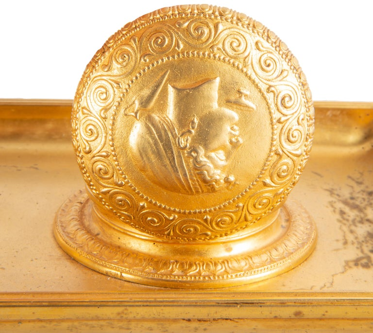 19th Century Grand Tour Influenced Gilded Ormolu Ink Well, Stamped, Barbedienne For Sale 7