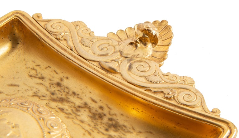 19th Century Grand Tour Influenced Gilded Ormolu Ink Well, Stamped, Barbedienne For Sale 8