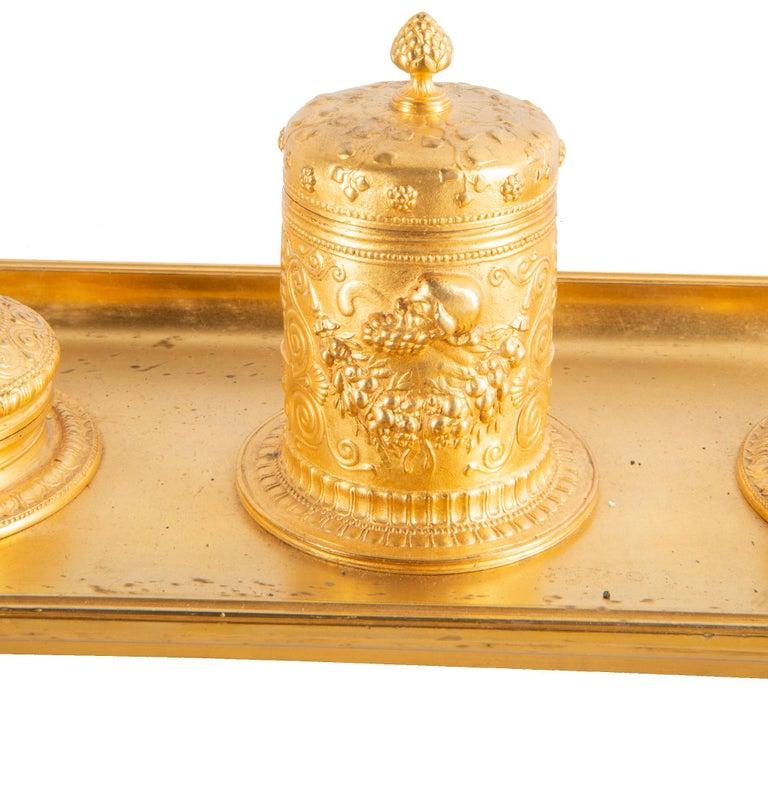 French 19th Century Grand Tour Influenced Gilded Ormolu Ink Well, Stamped, Barbedienne For Sale