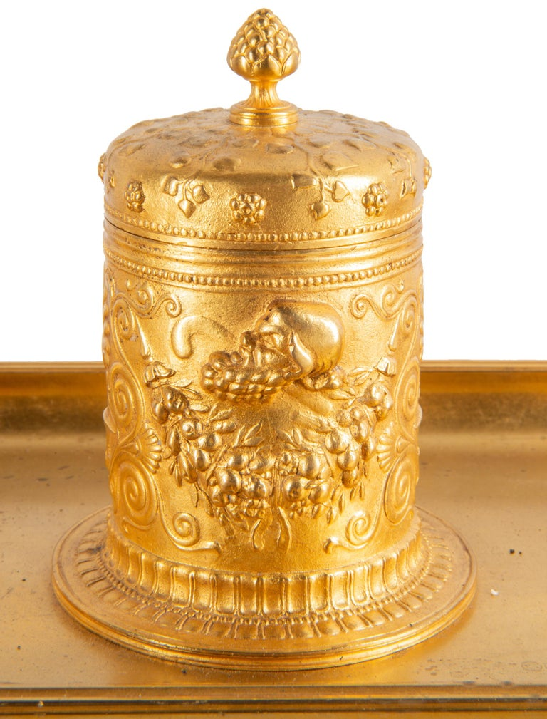 Gilt 19th Century Grand Tour Influenced Gilded Ormolu Ink Well, Stamped, Barbedienne For Sale