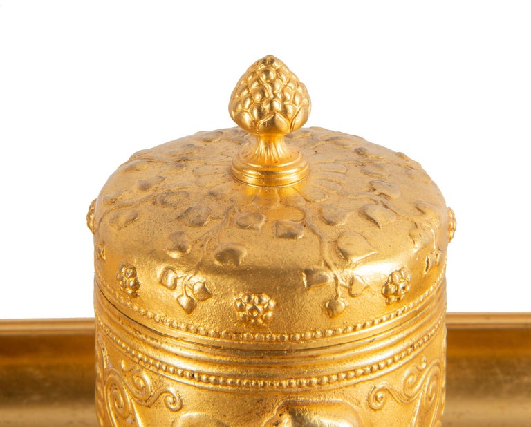 19th Century Grand Tour Influenced Gilded Ormolu Ink Well, Stamped, Barbedienne In Good Condition For Sale In Brighton, Sussex