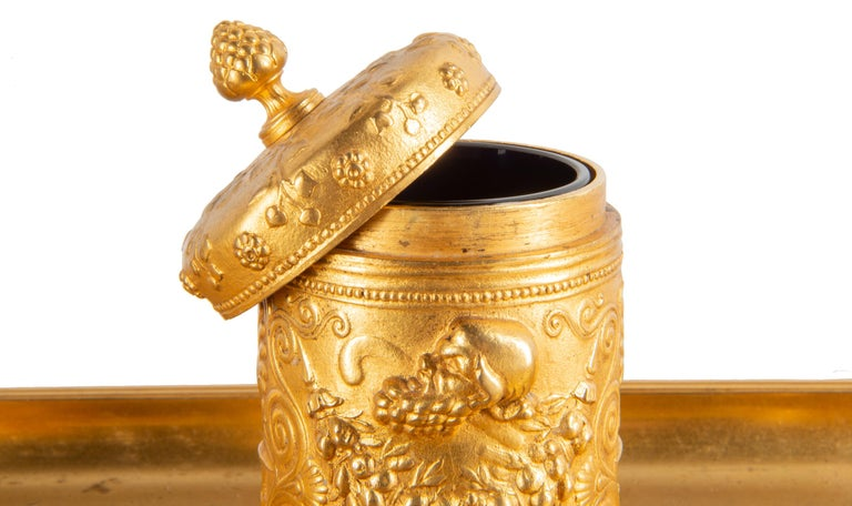 19th Century Grand Tour Influenced Gilded Ormolu Ink Well, Stamped, Barbedienne For Sale 2