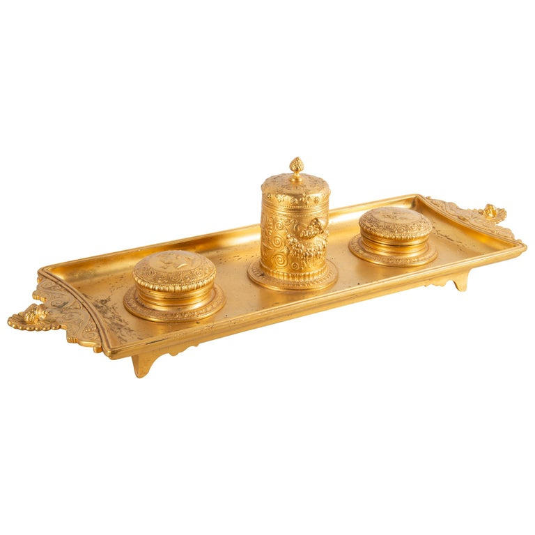 19th Century Grand Tour Influenced Gilded Ormolu Ink Well, Stamped, Barbedienne For Sale