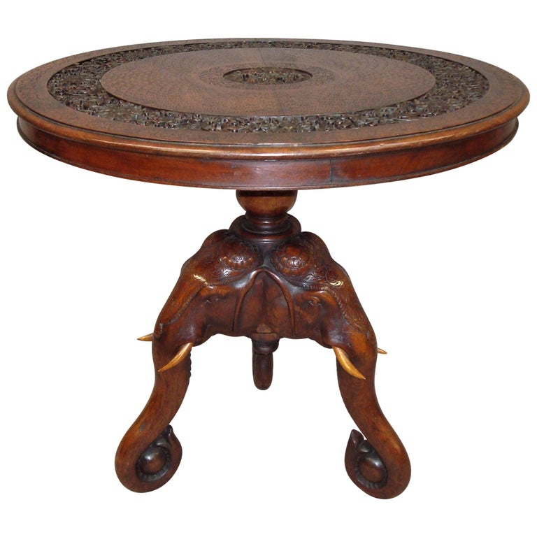 C19th Indian Carved Teak Elephant Table For Sale At 1stdibs