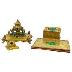 19th Century Ormolu and Malachite English Ink Well and Desk Set