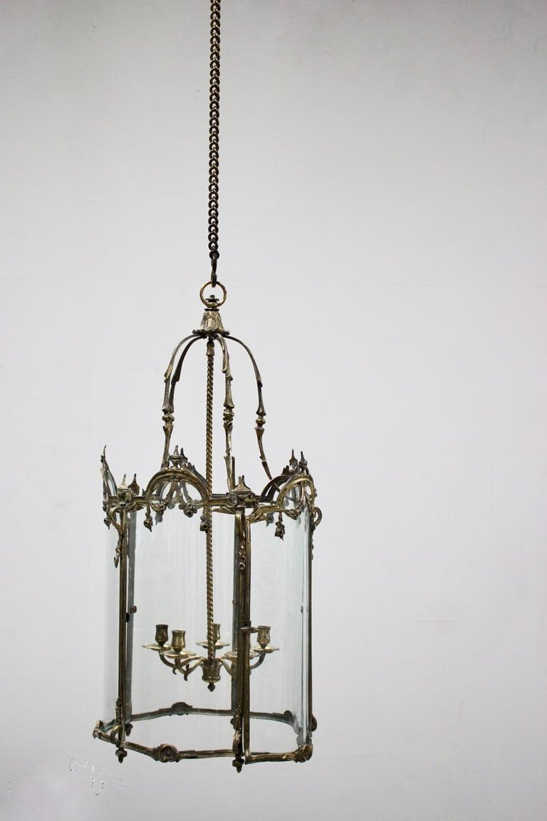 19th Century Polished Bronze Louis XV Revival Hall Lantern For Sale 8