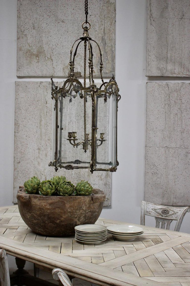 19th Century Polished Bronze Louis XV Revival Hall Lantern For Sale 2